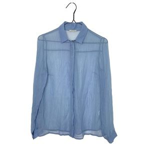 Intimissimi Powder Blue Sheer Button Up Blouse